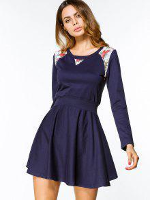 مربوط كم طويل الأزهار لوحة اللباس مصغرة - الأرجواني الأزرق L
