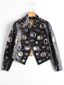 Hollow Out Anneau Embellished Shiny Jacket - Noir S