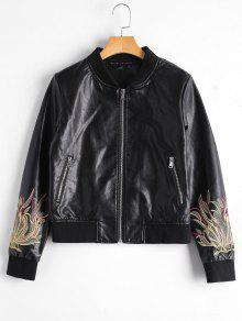 Zip Up Floral Patched Faux Leather Jacket - Black Xl