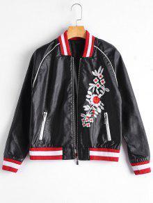 Floral Letter Patched Faux Leather Bomber Jacket - Black M