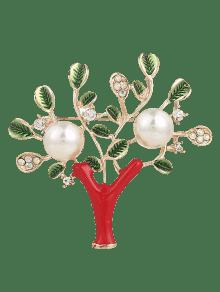 Rhinestone Faux Pearl Tree Of Life Brooch - Red
