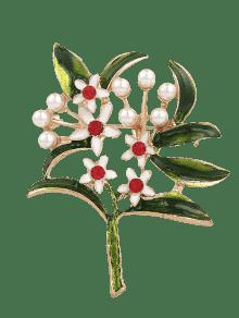 بروش لؤلؤ اصطناعي حجر الراين شكل الأزهار والورقة - أخضر