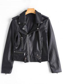 Asymmetric Zipper Faux Leather Biker Jacket - Black M