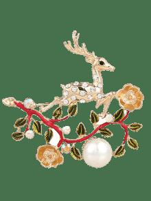 Faux Pearl Rhinestone Christmas Elk Brooch - Red