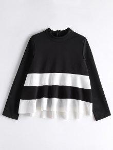 High Neck Two Tone Sweatshirt - White And Black