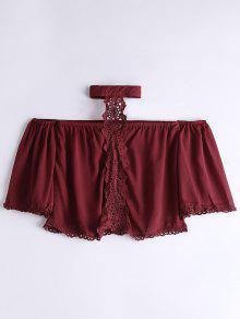Loose Lace Panel Choker Blouse - Wine Red M