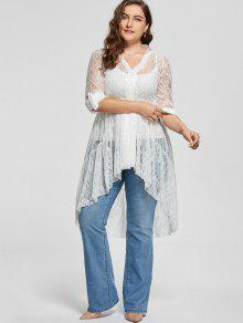 03369e29b3e 34% OFF  2019 Lace High Low Long Sleeve Plus Size Blouse In WHITE ...