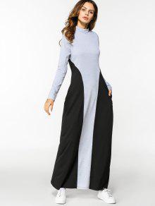 فستان طويلة الأكمام بأسلوبين ماكسي - أسود ورمادي L
