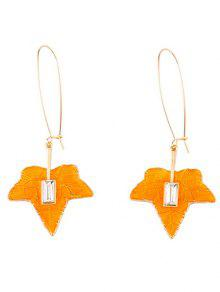 Maple Leaf Pendant Fish Hook Earrings - Golden