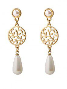 Life Tree Faux Pearl Pendant Earrings - Golden
