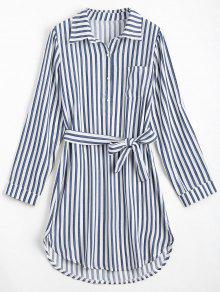 Belted Striped Long Sleeve Dress - Deep Blue S