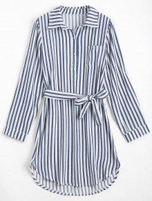 مربوط مخطط فستان طويل الأكمام - ازرق غامق L