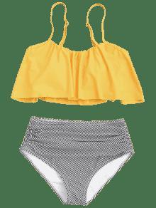 1f371586150 23% OFF  2019 Stripe Panel High Waisted Bikini Set In YELLOW