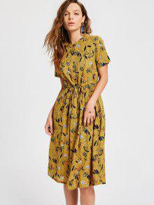 Vestido Estampado De Flores Con Cordón - Jengibre Xl