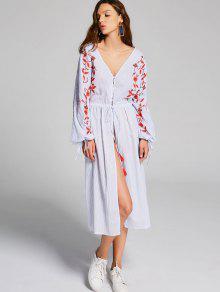 Mbroidered Stripes Front Slit Midi Dress - Stripe M