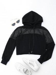 Cropped Mesh Sports Hoodie - Black S