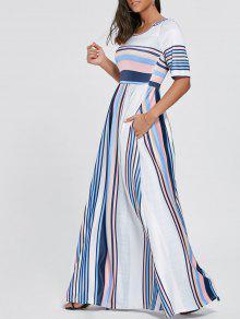 نصف كم كتلة اللون مخطط فستان ماكسي - أزرق 2xl