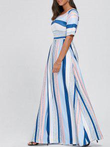 نصف كم كتلة اللون مخطط فستان ماكسي - أبيض L