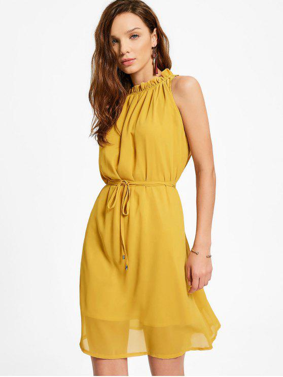 buy Ruffled Neck Sleeveless Chiffon Dress - GINGER L