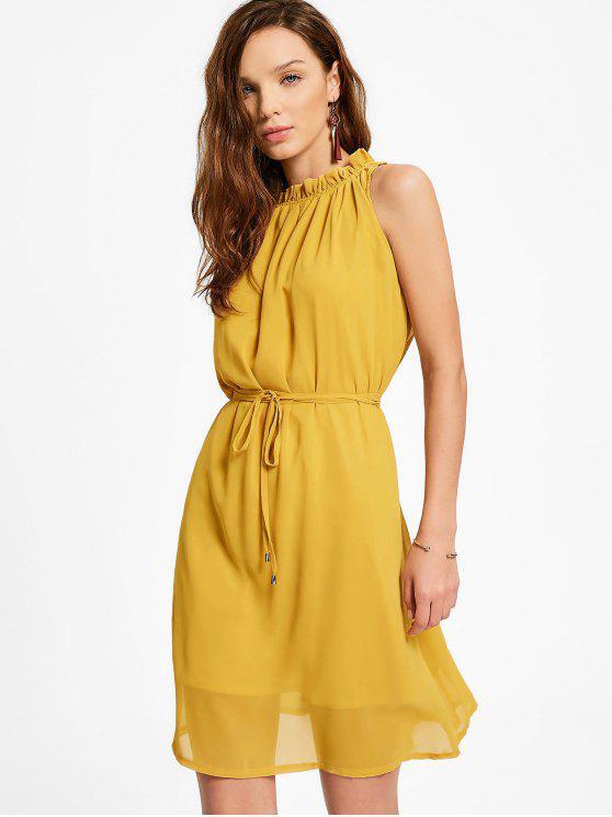 women Ruffled Neck Sleeveless Chiffon Dress - GINGER XL