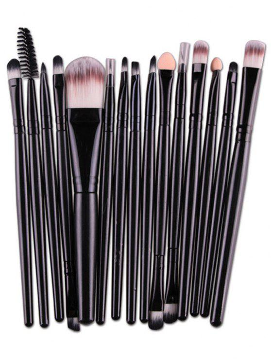 unique Stylish Multifunction 15 Pcs Plastic Handle Nylon Makeup Brushes Set - BLACK