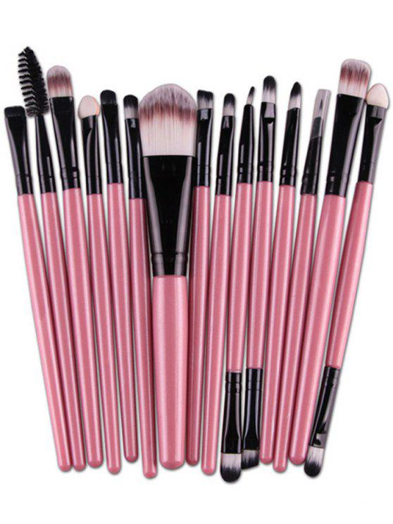 sale Stylish Multifunction 15 Pcs Plastic Handle Nylon Makeup Brushes Set - PINK