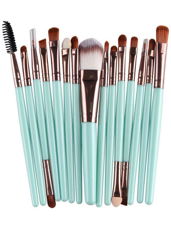 ladies Stylish Multifunction 15 Pcs Plastic Handle Nylon Makeup Brushes Set - GREEN + BROWN