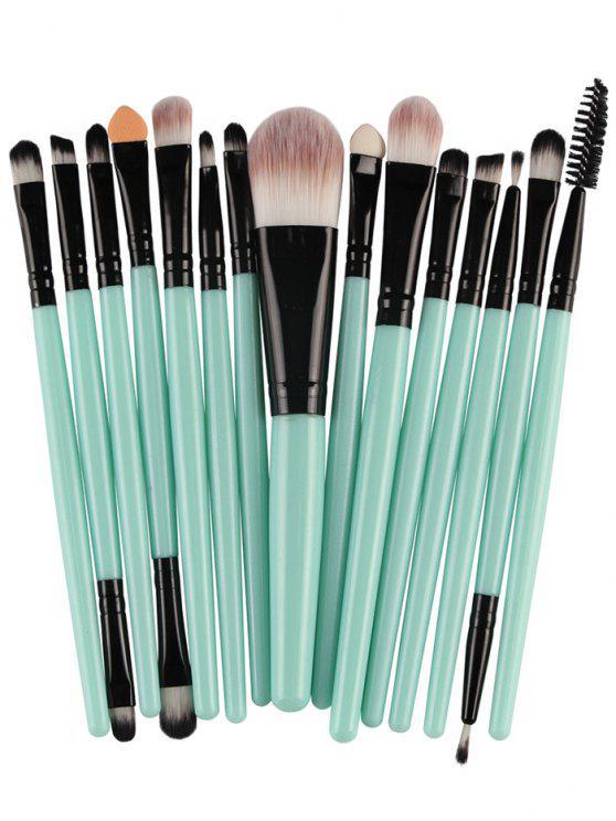 15 Pièces Ensemble de Pinceaux à Maquillage en Nylon avec Manches en Plastiques Stylisés - Noir et Vert