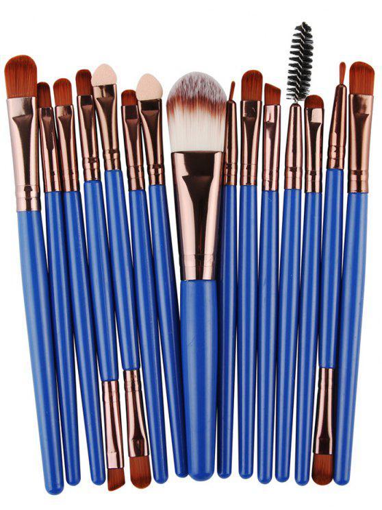 أنيق متعددة الوظائف 15 قطع مقبض بلاستيكي نايلون ماكياج فرش مجموعة - البني + أزرق
