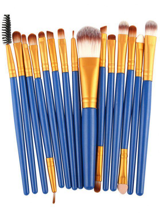 15 Pièces Ensemble de Pinceaux à Maquillage en Nylon avec Manches en Plastiques Stylisés - Bleu et Or