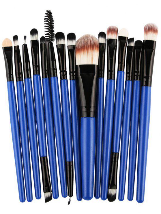 15 Pièces Ensemble de Pinceaux à Maquillage en Nylon avec Manches en Plastiques Stylisés - Noir et Bleu