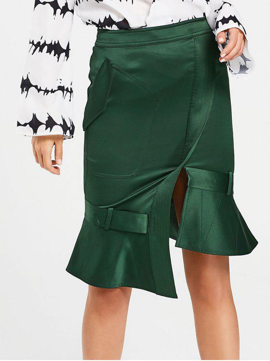 unique Slit Asymmetrical Mermaid Skirt - BLACKISH GREEN L