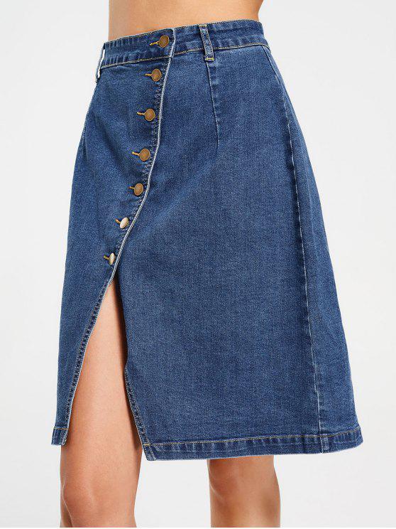 lady Slit Button Up Denim Skirt - DENIM BLUE L