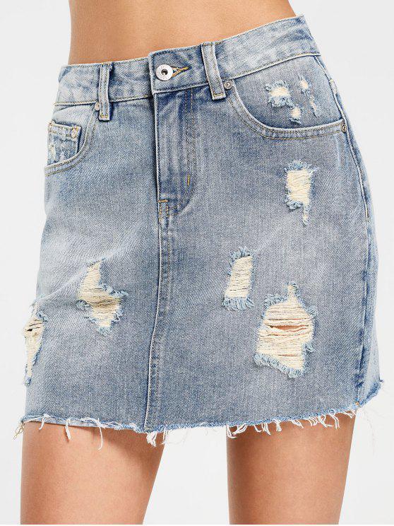latest High Waisted Destroyed Denim Skirt - DENIM BLUE L