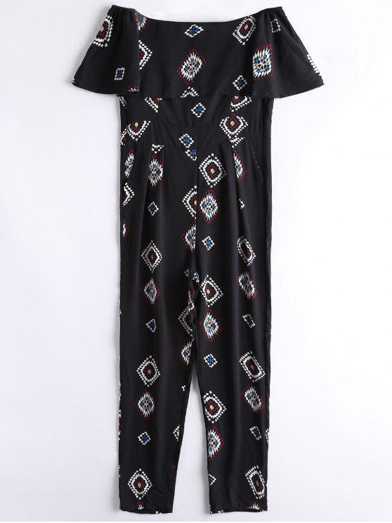 Combinaison Col Bardot Couverture Géométrique - Noir L