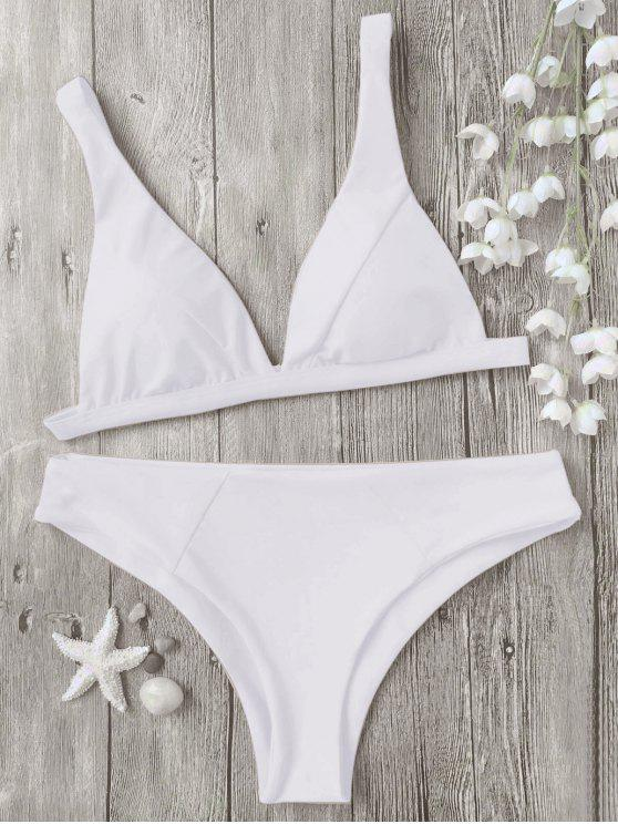 affordable Padded Plunge Bikini Top and Bottoms - WHITE M