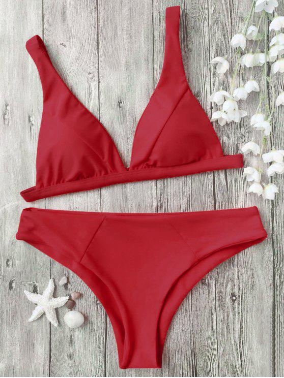 ladies Padded Plunge Bikini Top and Bottoms - RED S