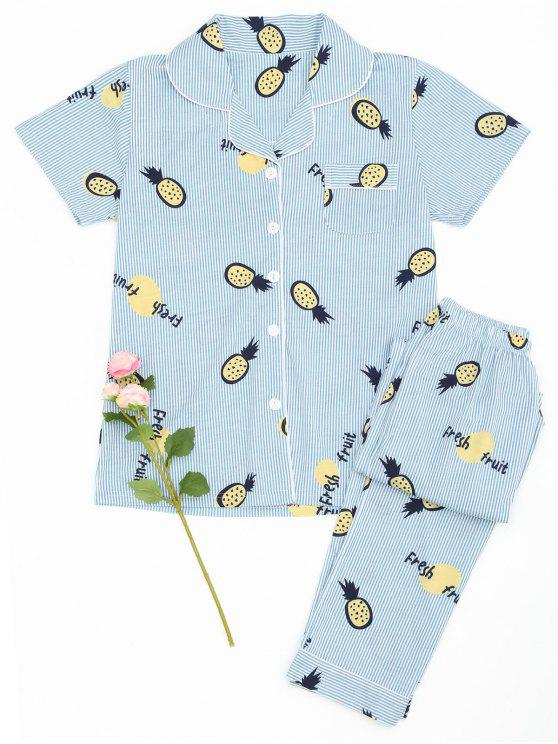 Camisa de piña de frutas a rayas con pantalones - Raya 2XL