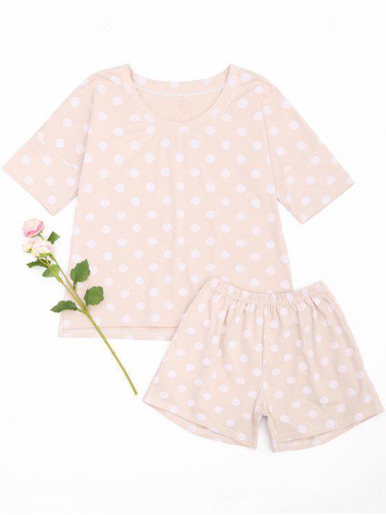 Polka Dot Loungewear Camiseta y pantalones cortos - Rosado L