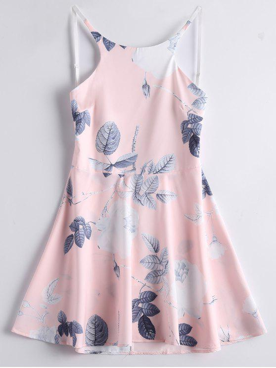 online Leaves Floral Backless A Line Dress - PINK M