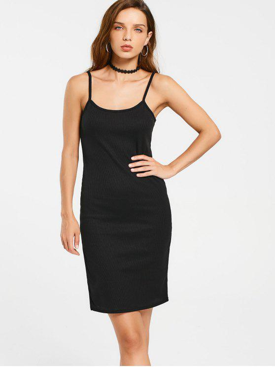Slit Ribbed Bodycon Slip Dress - Noir M