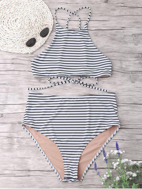 ladies Plus Size Stripe High Neck Bikini Set - WHITE 3XL