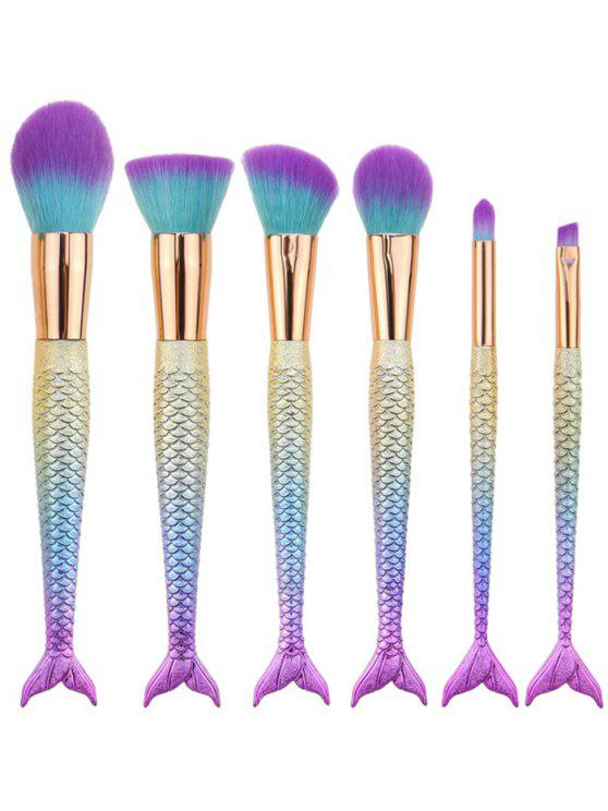 fancy 6Pcs Ombre Mermaid Tail Facial Makeup Brushes - BLUE VIOLET