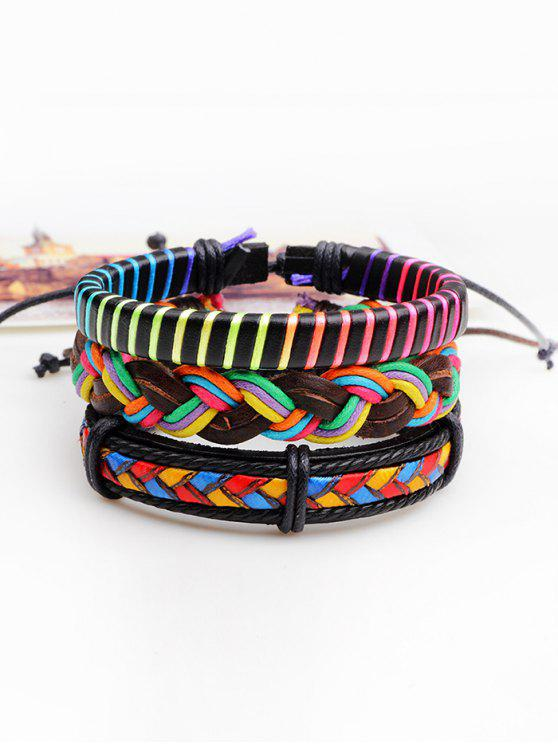 affordable Multicolor Woven Faux Leather Rope Bracelets Set - COLORFUL