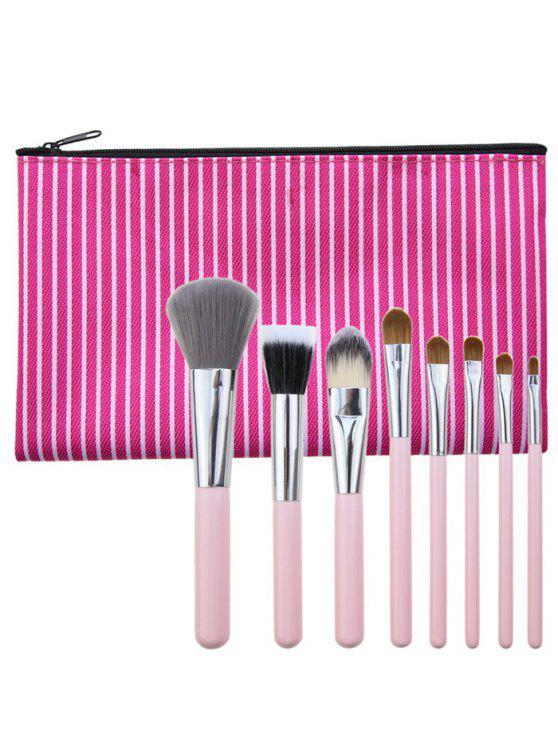 latest 8Pcs Portable Multipurpose Makeup Brushes Set with Bag - TUTTI FRUTTI