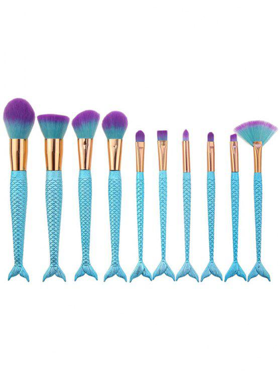 shops 10Pcs Ombre Hair Mermaid Handle Makeup Brushes Set - BLUE