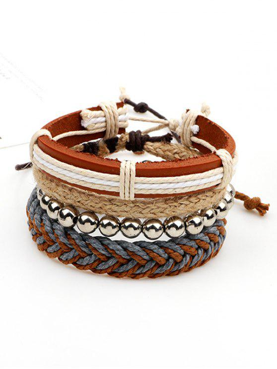 unique Beaded Woven Straw Rope Friendship Bracelets - BROWN