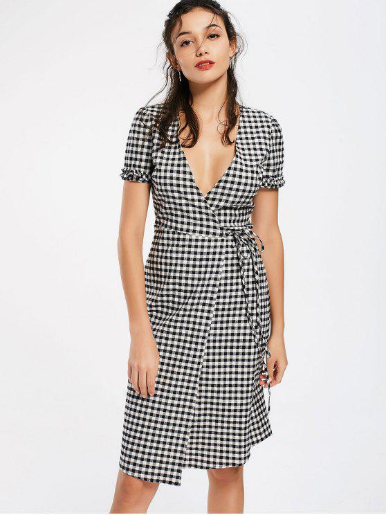 2018 checked ruffles wrap casual dress in checked l zaful