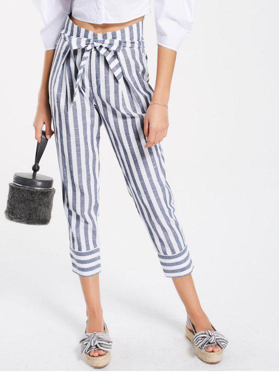 hot Belted High Waist Striped Capri Pants - STRIPE M