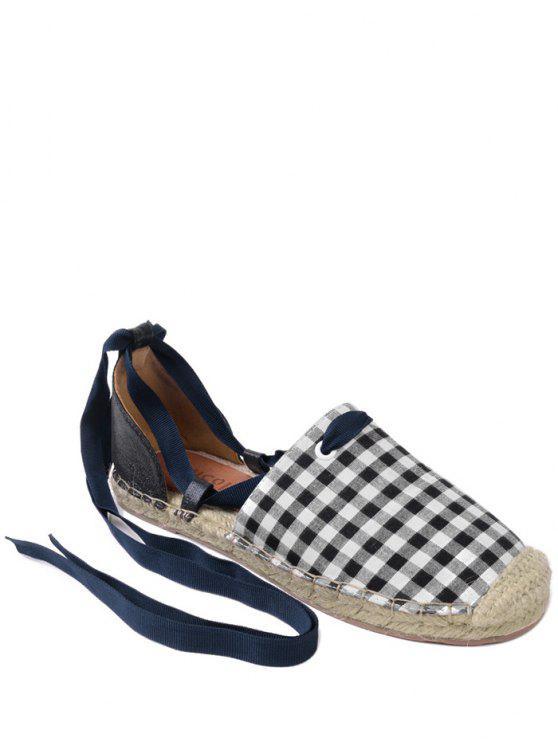 Plaid Pattern Stitching Tie Up Flat Shoes - Carré 37